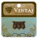 Vintaj Natural Brass Co. Jewelry Findings - Perched Owls 22 X 11.5mm